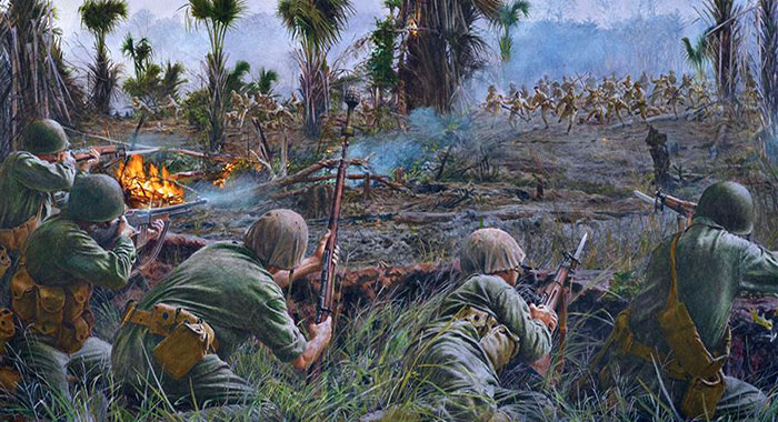 Breaking a Japanese attack on Guadalcanal